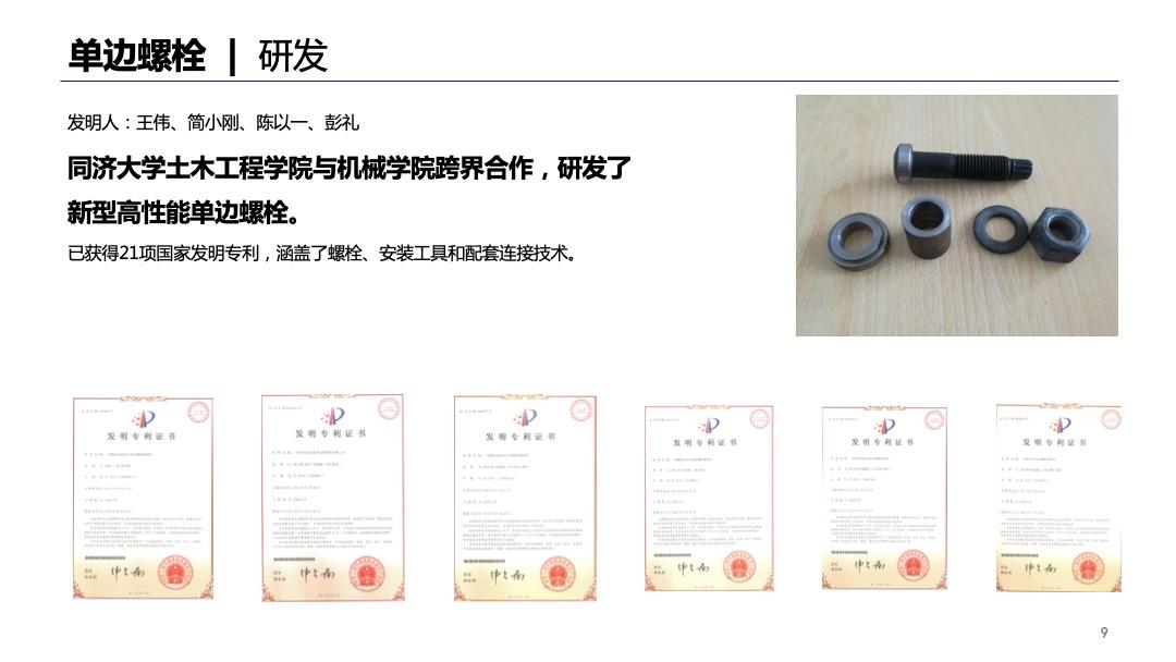 单边螺栓研发已获得21项国家发明专利